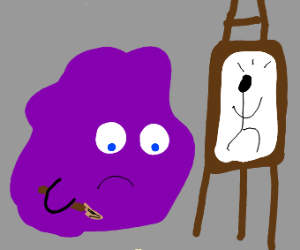 A purple blob, disappointed with it's art