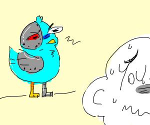 Cyborg bird is watching you
