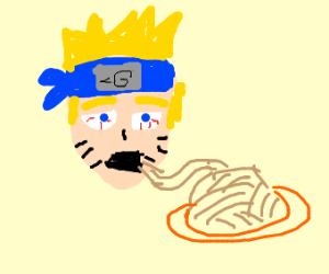 Naruto but he's high off noodles