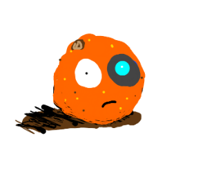 Sentient orange has a blue laser eye.