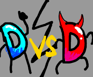 Drawception D Vs itself as a demon