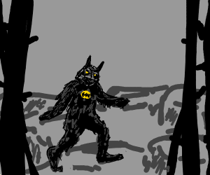 Batman fused with Bigfoot