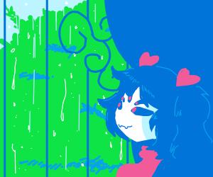 muffet watching rain fall