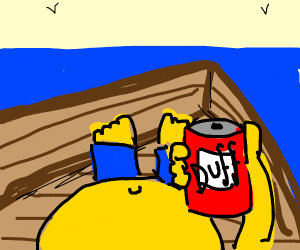 homer simpson chills on a sailboat