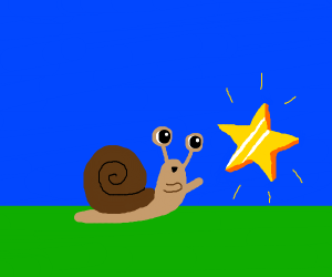 Snail gets a gold star! Good job, lil' snail!