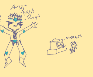 DIO is ranting while giorno plays Minecraft