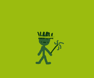 Guy wearing a grass crown has a wand