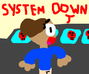 """""""system down!"""" lady screams"""