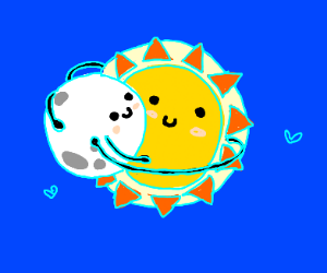 Sun and moon having a hug
