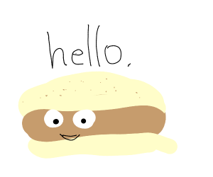 "Sentient burger says ""Hello"""