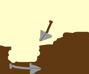 Shovel digging using another shovel