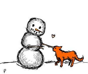 A snowman pets an orange cat
