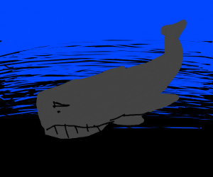 very sad whale in depths of the ocean