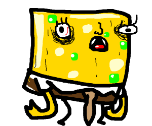 Angry spongebob with fangs and green pimples