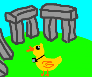 A duck visiting Stonehenge