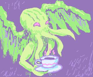 cthulhu enjoying a cup of tea