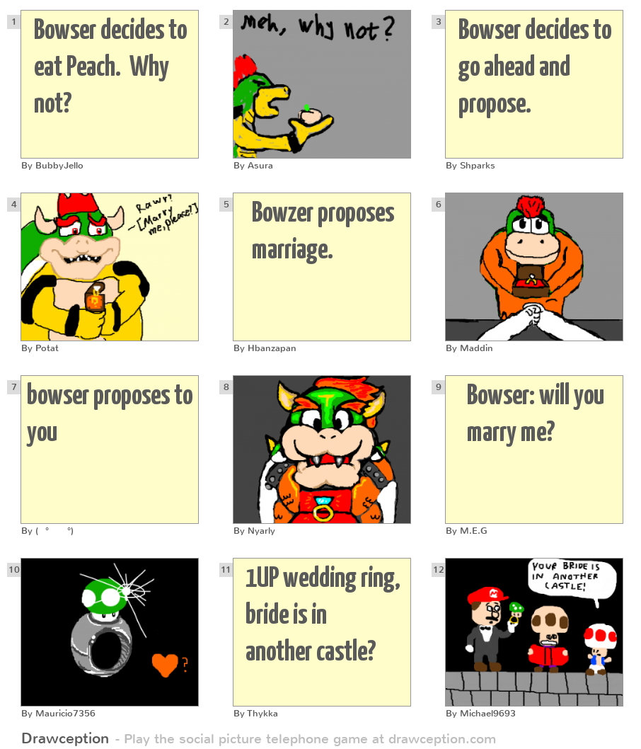 Bowser decides to eat Peach  Why not? - Drawception