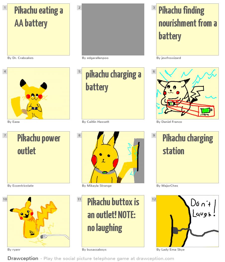 Pikachu Eating A Aa Battery