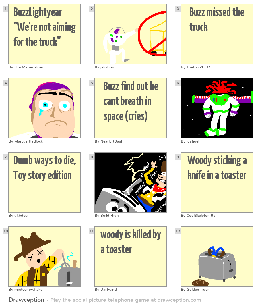buzzlightyear we re not aiming for the truck drawception