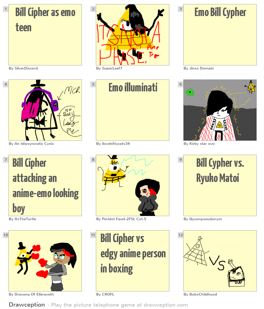 Bill Cipher as emo teen - Drawception
