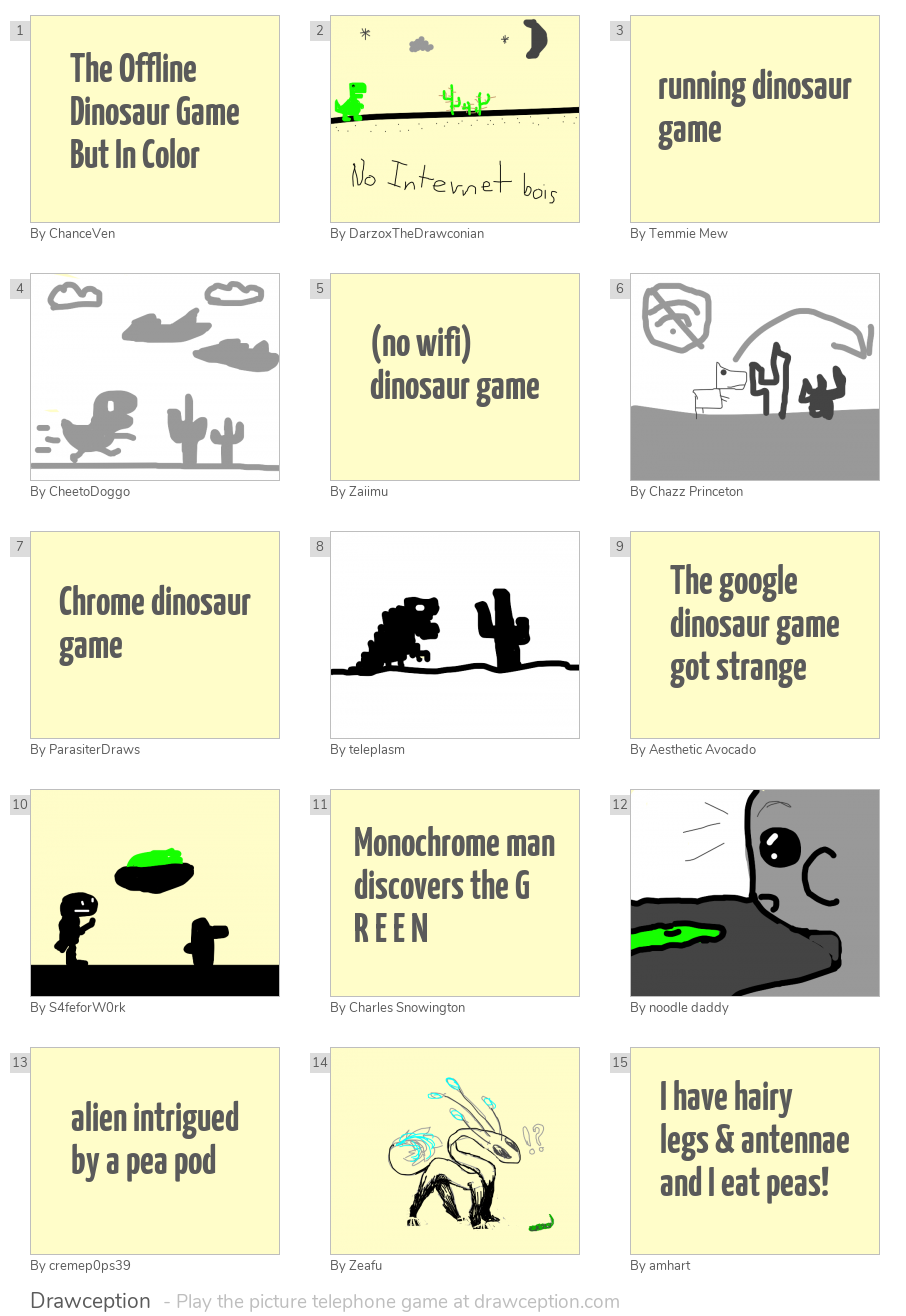 The Offline Dinosaur Game But In Color - Drawception