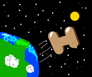 """"""" H"""" flies away from Earth"""