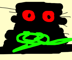 Dark hairy red-eyed monster drools green