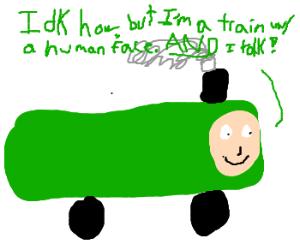 Thomas the tank engine made of veggies