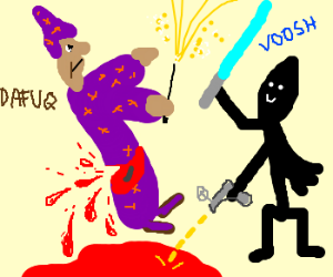Badly drawn battle of  a jedi and wizard