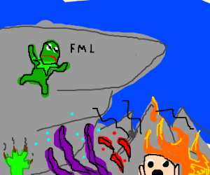 Kermit scaling the cliffs of insanity!!!