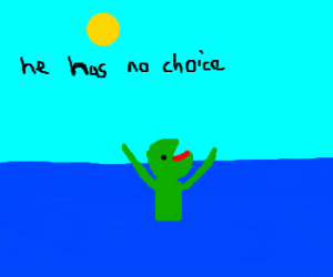 Kermit does not want to swim. Icky water