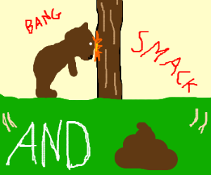 Bear banging his head on a tree and poop