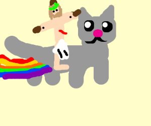 Bleeding Jesus rides nyan cat.