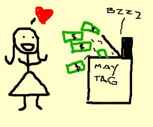 Girl loves cash-dumping washing machine.