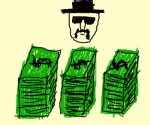 Dividing the bribe money into 3 piles