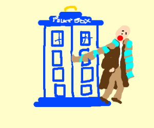 Fourth Doctor traps scarf in TARDIS door