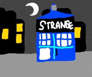 The TARDIS is labelled as STRANGE