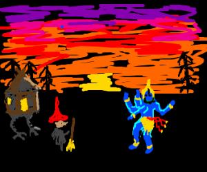 Young Baba Yaga with Shiva at sunset