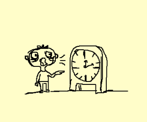 Odd, Shouting Child Pointing at Clock