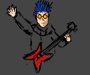 Blue hair guitar man