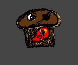 A knight in a muffin