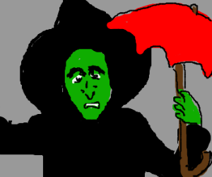 Wicked witch of East with red umbrella