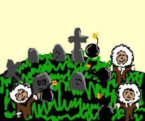eskimos play with bombs in graveyard