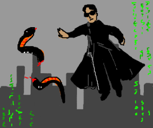 neo cuts a snake in half