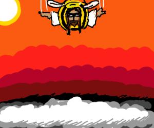 Jesus skydiving with halloween costume