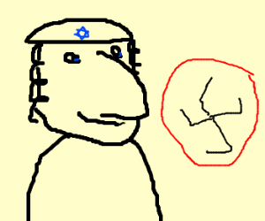 Rabbi Smug b/c Nazi Symbol draw wrong