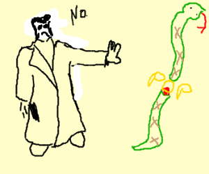 Neo cuts snake in half with matrix power
