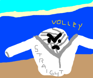 Volleyball mad wrapped in straightjacket