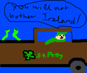 St. Pattie drives snakes out of ireland