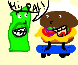 Dollar likes hamburger on a skateboard